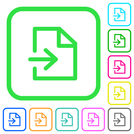 Import vivid colored flat icons in curved borders on white background