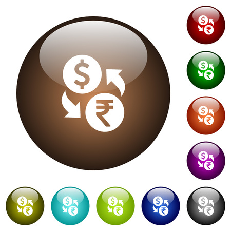 Dollar Rupee money exchange white icons on round color glass buttons Illustration
