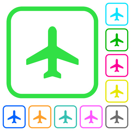 Airplane vivid colored flat icons in curved borders on white background