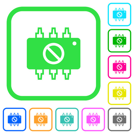 Hardware disabled vivid colored flat icons in curved borders on white background