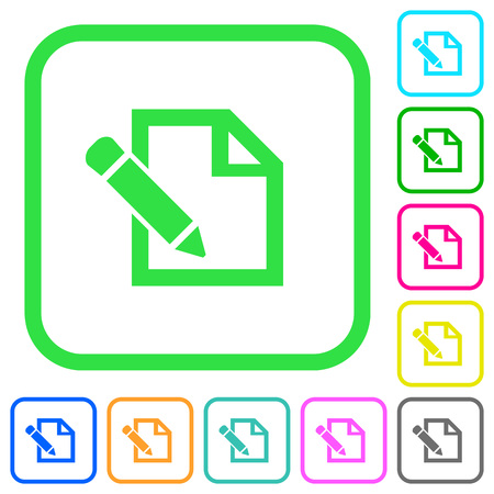 Edit with pencil vivid colored flat icons in curved borders on white background
