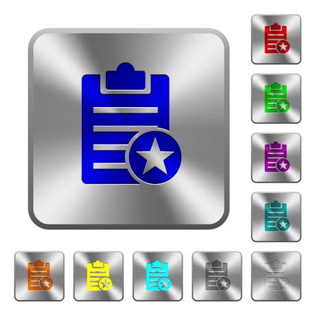Note marquée des icônes gravées sur des boutons en acier brillant carrés