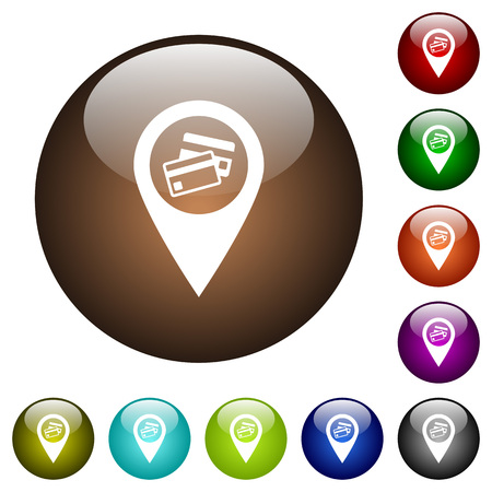 Credit card acceptance GPS map location white icons on round color glass buttons