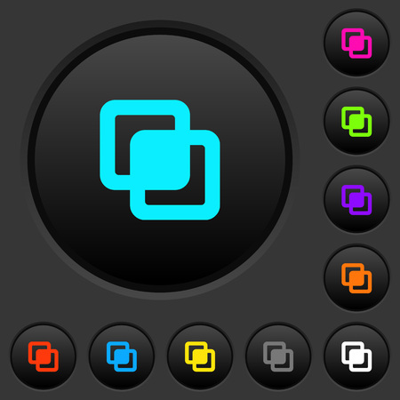 Intersect shapes dark push buttons with vivid color icons on dark grey background 向量圖像