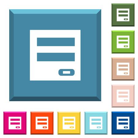 Icônes blanches du panneau de connexion sur des boutons carrés bordés de différentes couleurs à la mode Vecteurs