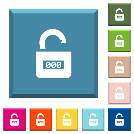 Unlocked combination lock with center numbers white icons on edged square buttons in various trendy colors