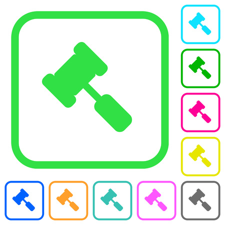 Judge hammer vivid colored flat icons in curved borders on white background