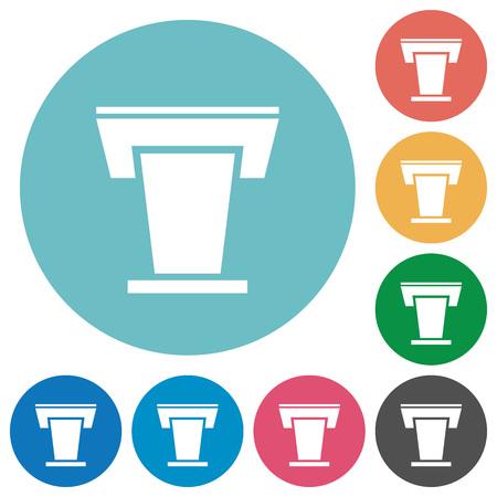 Conference podium flat white icons on round color backgrounds Ilustrace