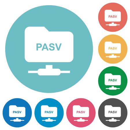 FTP enter passive mode flat white icons on round color backgrounds Illusztráció