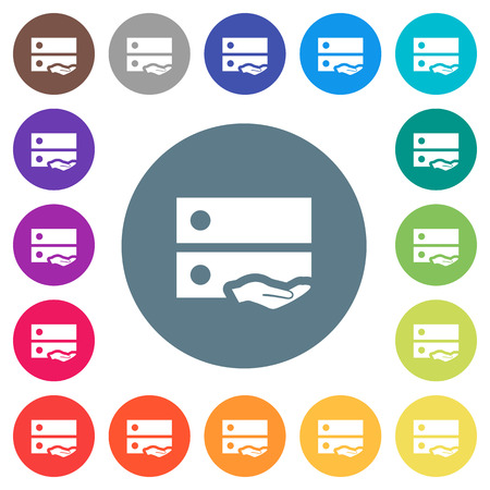 Shared drive flat white icons on round color backgrounds. 17 background color variations are included.