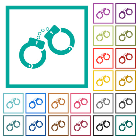 Handcuffs flat color icons with quadrant frames on white background