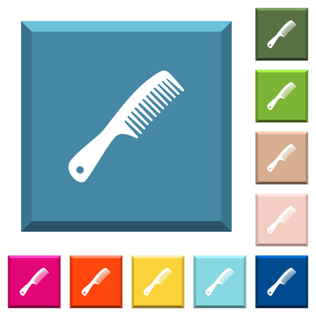 Comb with handle white icons on edged square buttons in various trendy colors Illustration
