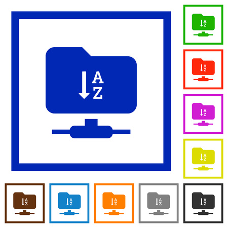FTP sort ascending flat color icons in square frames on white background