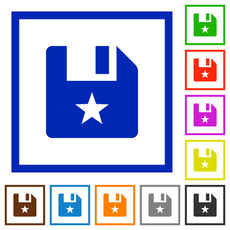 Marked file flat color icons in square frames on white background