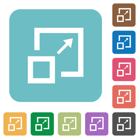 Enlarge window white flat icons on color rounded square backgrounds