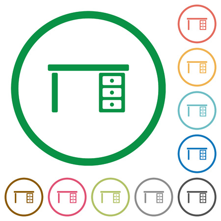 Drawer desk flat color icons in round outlines on white background Ilustração
