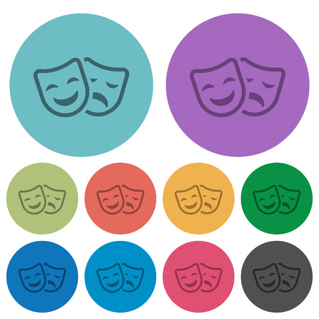 Comedy and tragedy theatrical masks darker flat icons on color round background Illustration