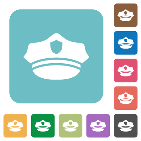 Police hat white flat icons on color rounded square backgrounds
