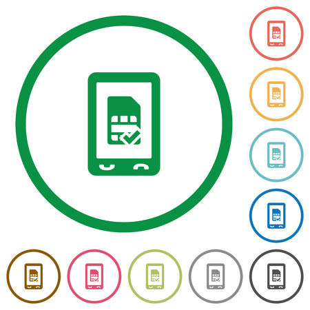 Mobile simcard accepted flat color icons in round outlines on white background