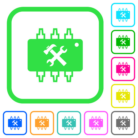 Hardware maintenance vivid colored flat icons in curved borders on white background