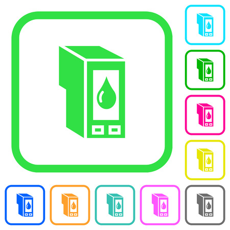 Ink cartridge vivid colored flat icons in curved borders on white background