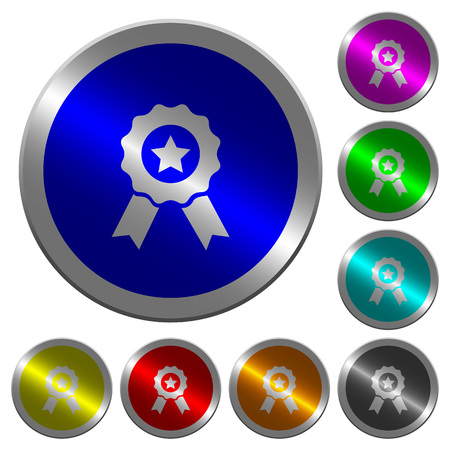 Award with ribbons icons on round luminous coin-like color steel buttons 일러스트