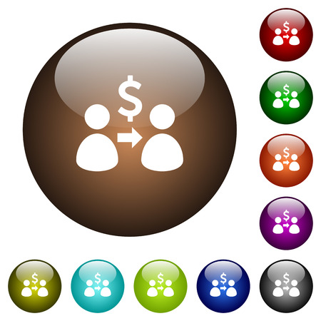 Send dollars white icons on round color glass buttons Illustration
