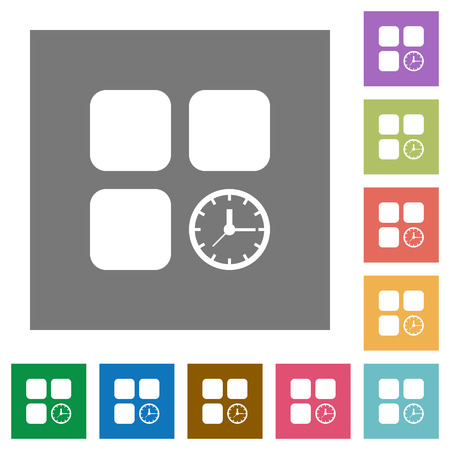 Component timer flat icons on simple color square backgrounds