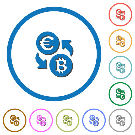 Euro Bitcoin money exchange flat color vector icons with shadows in round outlines on white background
