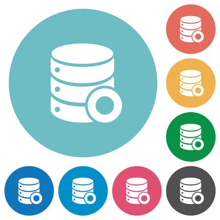Database macro record flat white icons on round color backgrounds