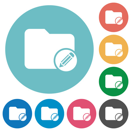 Edit directory flat white icons on round color backgrounds