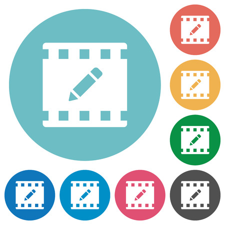 rename movie flat white icons on round color backgrounds