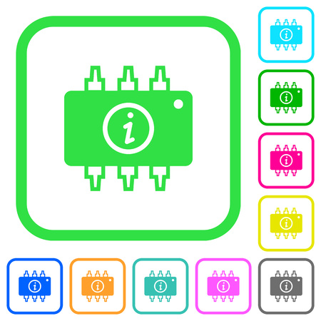Hardware info vivid colored flat icons in curved borders on white background