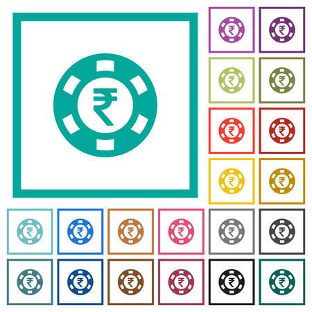 Indian Rupee casino chip flat color icons with quadrant frames on white background