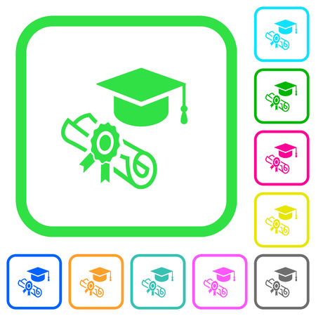 Graduation ceremony vivid colored flat icons in curved borders on white background