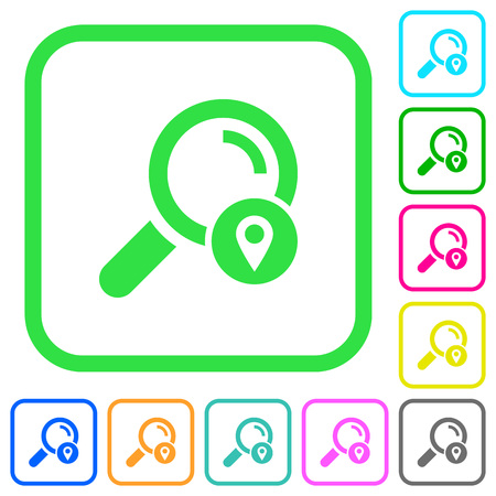 Search location vivid colored flat icons in curved borders on white background Vettoriali