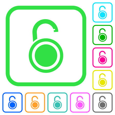 Unlocked round padlock vivid colored flat icons in curved borders on white background