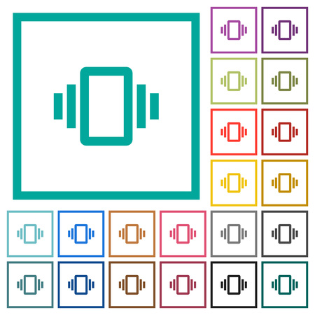 Smartphone vibration flat color icons with quadrant frames on white background