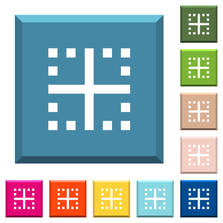 Inner borders white icons on edged square buttons in various trendy colors