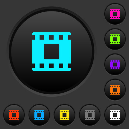 Movie stop dark push buttons with vivid color icons on dark grey background