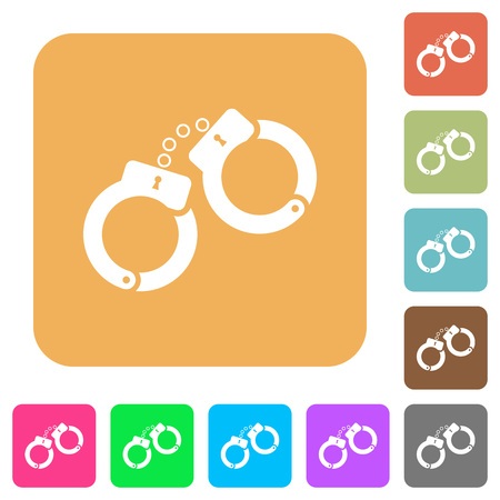 Handcuffs flat icons on rounded square vivid color backgrounds.