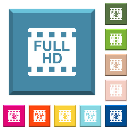 Full HD movie format white icons on edged square buttons in various trendy colors  イラスト・ベクター素材