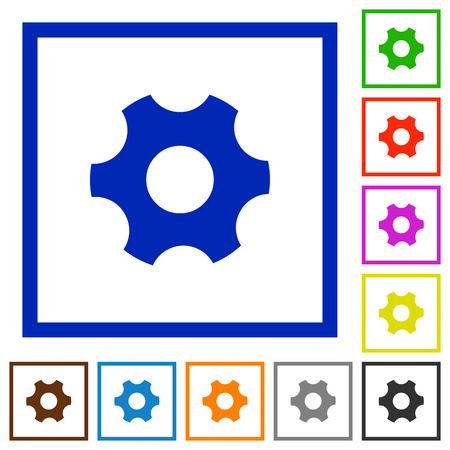 Single cogwheel flat color icons in square frames on white background