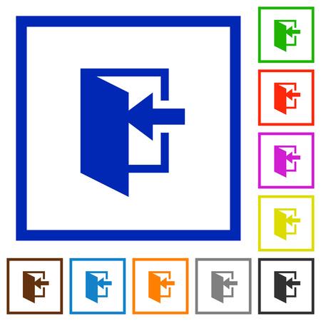 Entrez des icônes de couleur plate dans des cadres carrés sur fond blanc Vecteurs