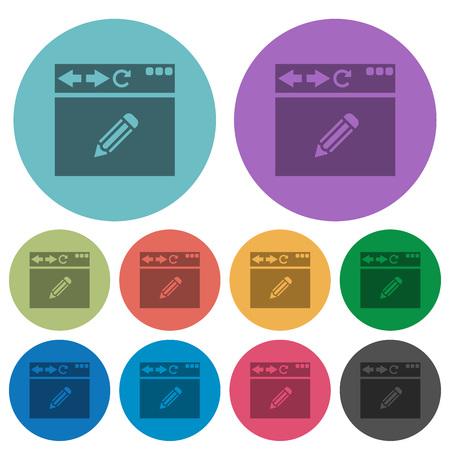 Browser edit darker flat icons on color round background Illustration