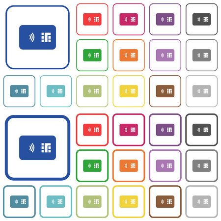 NFC chip card color flat icons in rounded square frames. Thin and thick versions included.