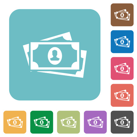 More banknotes with portrait white flat icons on color rounded square backgrounds  イラスト・ベクター素材