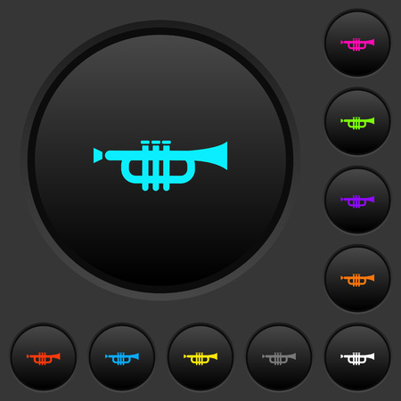 Trumpet dark push buttons with vivid color icons on dark grey background
