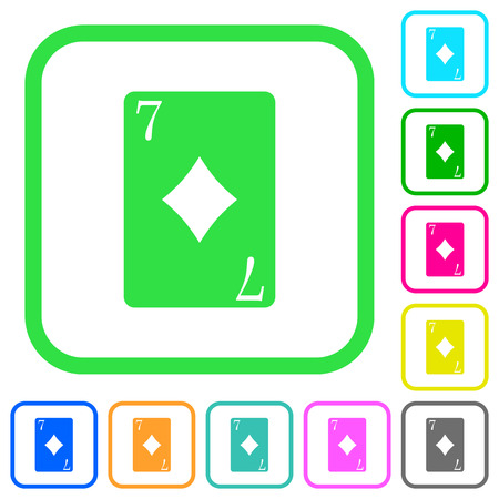 Seven of diamonds card vivid colored flat icons in curved borders on white background 版權商用圖片 - 110513978