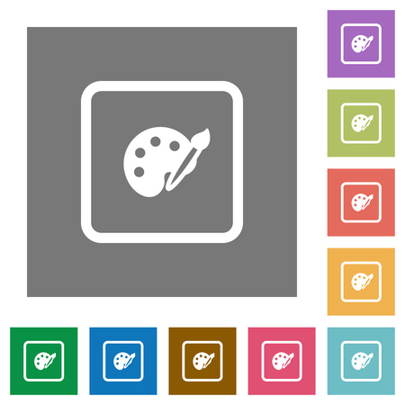 Adjust object color flat icons on simple color square backgrounds Illustration
